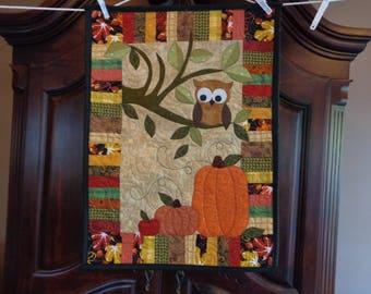 Owl Fall Quilt, Little Quilt, Pumpkins 0730-07