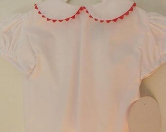SALE 50% OFF Girl White Peter Pan Collar Blouse - RED trim