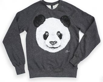 Panda sweatshirt animal  bear cute design sweat organic jumper men's jumper unisex panda clothing