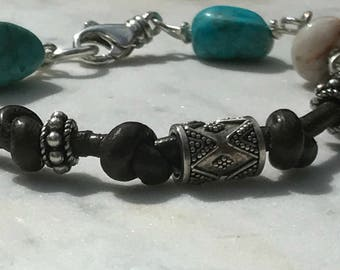 Leather n Turquoise Boho Bracelet - Wire Wrapped Gemstones - Sterling Silver Bali Beads - Jasper - Sundance Artisan Style