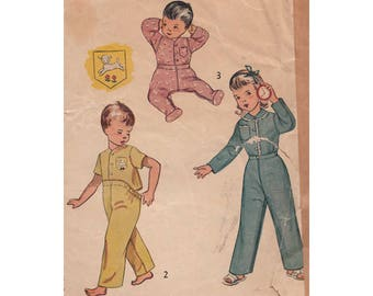 1950 Baby Two Pajama Pattern Footed or Footless Sleeper Simplicity 3377 Convert to Onsie Attachable Bottoms  Lamb Stencil One Year Old