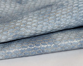 Snakeskin  Embossed Genuine Leather , Light  Blue and Silver  Exotic Print Leather