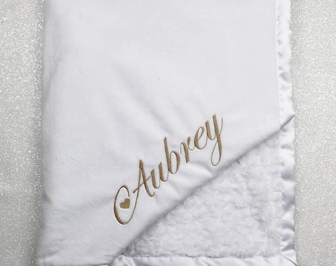 Minky Blanket, Personalized Embroidered Blessing Blanket, Baptism blanket, white blanket, white and gold, baby boy, baby girl blanket,