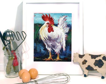 Rooster Painting, Rooster Art, Chicken Wall Art- Chicken Art Print 10 x 8 by Jemma's Gems