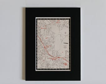1950s map of Melbourne suburbs, Australia - Boronia, The Basin, Ferntree Gully, ready to frame, 6 x 8""