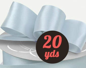 "Satin Pale Blue Ribbon - 7/8"" wide at 20 yards"