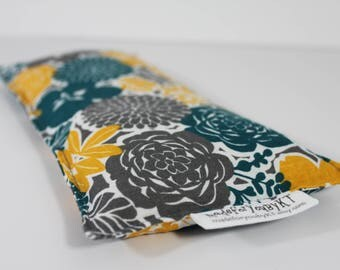 Headache & Eye Rice Bag - 4.5 x 10 inches, hot or cold therapy pack, gray, yellow, teal, floral pattern, rice heating pad
