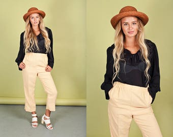 80s Pastel Yellow Trousers Vintage High Waisted Pleated Pants