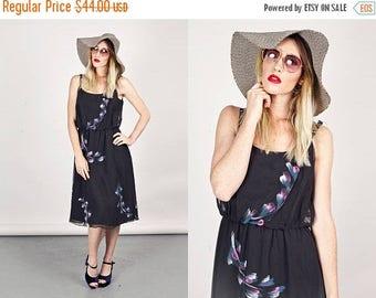FLASH SALE 70s Day Dress Black Abstract Print Vintage Spaghetti Strap Dress