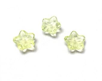 Czech Glass Cup Flower Beads. Jonquil. Flower Drops. 8mm. Twenty-Five (25).