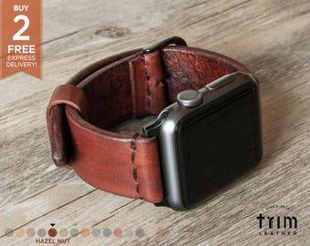 Apple Watch Band 42mm 38mm Leather Watch Band iWatch Strap Bracelet Series 1, 2 and 3 Minimal Hazel Nut Brown [Handmade] [Custom Colors]