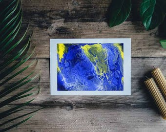 Abstract Painting Blue and Yellow painting // Original Handmade // Signed // wall ready //  wall art // modern art // anniversary present