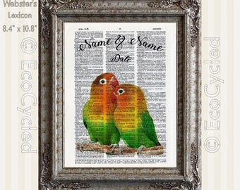 Lovebirds in Love 1 with Names & Date on Vintage Upcycled Dictionary Art Print Book Art Print Anniversary Wedding Custom Tropical Art Print