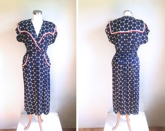 1940s Dress // 40s Dress // 1940s Sailor Collar Vintage Red White and Blue Polka Dot Dress // Nautical // Size Small Medium