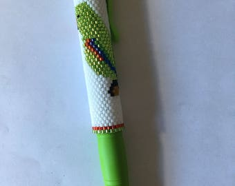 Hand Beaded Male Eclectus Parrot  G2 pencil wrap with Light Green pencil