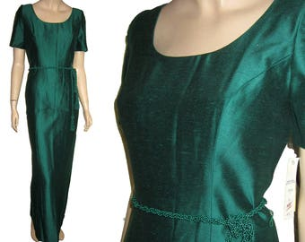 UNWORN 80s WATTERS & WATTERS Kelly Green Prom Dress Bust 36 Brides Maid Gown - Union Made- Free Shipping