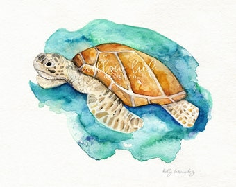 Sea Turtle, Watercolor print, teal, sea,ocean life, Archival Print, wall art, beach art