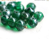 ON SALE Emerald Green Picasso beads, czech glass round chunky orhanic shape, 9x7mm - 15Pc - 0761