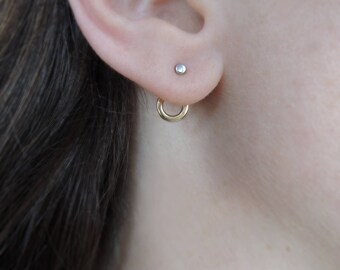 Small Circle Ear Jackets - Minimal - Earrings - Sterling Silver or Mixed Metal - Bronze and 925