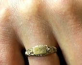 Antique Gold Plated Ring Floral Ring Victorian French Jewelry Size Ring 8.75 US French 59