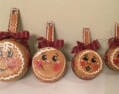 Gingerbread Upcycled Metal Measuring Cups Housewarming Gift Ginger Kitchen Decor Handpainted Ready to Ship Home Decor