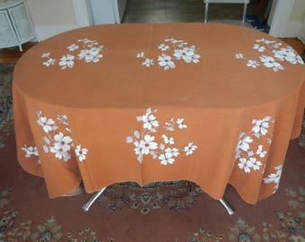 Vintage Brown Dogwood Print Rectangle Tablecloth