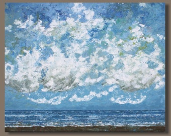 FREE SHIP abstract painting, landscape painting, semi abstract seascape, ocean painting, beach art, blue, clouds and sand oblong wall art