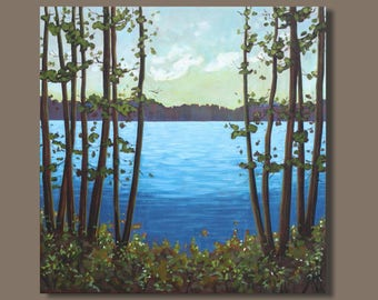 FREE SHIP semi abstract painting, landscape painting, square format, impressionist painting, lake painting, nova scotia, east coast artwork