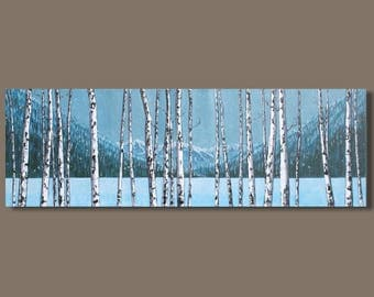 FREE SHIP abstract art, winter tree painting, panoramic painting, winter, mountain painting, frozen lake, impressionist, west coast art