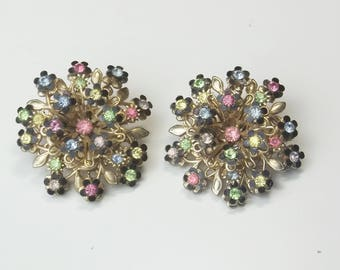 Vintage 1950's Black Enamel Flowers Pink Yellow Blue Green Rhinestone Mid Century Costume Jewelry Large Domed Tiered Earrings Gift For Her