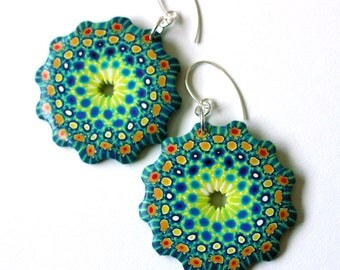 Polymer Clay Earrings,Rose Windows,Teal Orange,millefiori,Sterling silver,handmade,colorful,OOAK,Fimo jewelry,Silvia Ortiz de la Torre,Spain