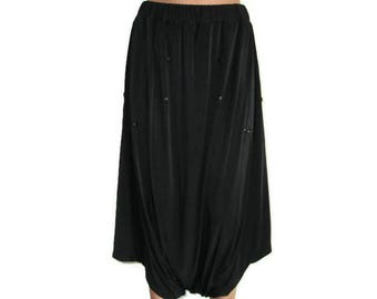 Casual Loose Pockets jersey Black Pants, Bloomers Women Pants, Wide leg Pants, Trousers, Elastic Thin, Soft jersey Spring Summer sundress