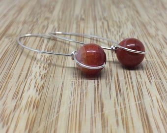 """2"""" 10mm Fire Agate Dangle Earring with Non-tarnish Silver Colored Wire"""