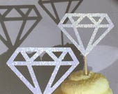 12 White Diamond Diamonds  Cupcake Toppers Topper Wedding Bride Engagement Ring