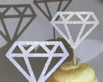 12 White Diamond Diamonds  Cupcake Toppers Topper Wedding Bride Engagement Ring