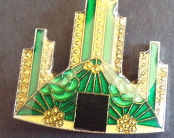DECO STYLE lacquered metal PIN emerald city (C1)