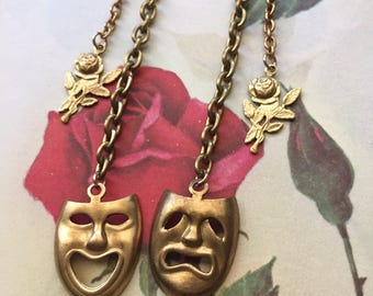 One of a kind Gypsy Rose drama mask earrings