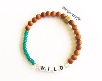 CUSTOM Name/Word + Jade + Sandalwood/Rich Purple + Crystal Beaded Bracelet