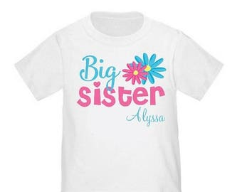 ON SALE Big Sister Flowers Personalized T Shirt Big Sister tshirt