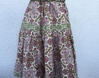 Plissee/Midi Rock dress vintage french-style chic retro 70's paisley art and crafts recyclingfashion polka dot