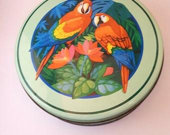 Tropical Macaws Tin by ES B Steeltin