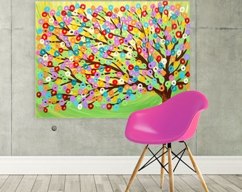 Large Green Canvas Picture - Green Tree Canvas Print - Colourful Green Abstract Tree - Lime Green Rainbow Abstract Whimsical Tree Wall Art