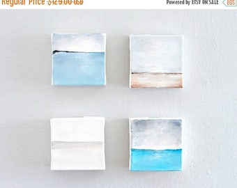 CLEARANCE Original Abstract Acrylic Paintings, Set of 4 Art Blocks--Minimalist Home Decor Seascape Art--Soft Muted Color Palette for the Hom