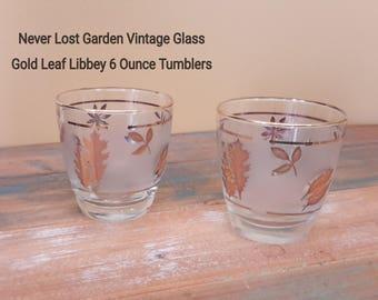 Gold Leaf Frosted Libbey 6 oz Flat Tumbler Glasses Vintage