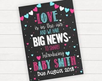 Valentine's Pregnancy Announcement Valentine's Day Pregnancy Announcement Pregnancy Reveal Valentine's Pregnancy Reveal Pregnancy Card