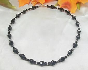 Black Onyx Necklace Black Necklace Adjustable Necklace Sterling Silver Necklace Black Onyx Jewelry BuyAny3+Get1 Free