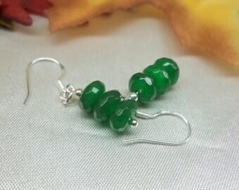 Emerald Green Emerald Earrings Sterling Green Jade Earrings Dangle Earrings Real 14k Gold 14k Gold Filled 925 Sterling Silver BuyAny3+1 Free
