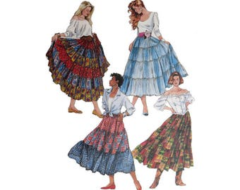 Tiered Skirt, McCall's 6284, Dress With Tiers, UNCUT, Size Extra Small, Medium, Size Small, Gathered Skirt, Peasant Skirt, Gyspy Costume