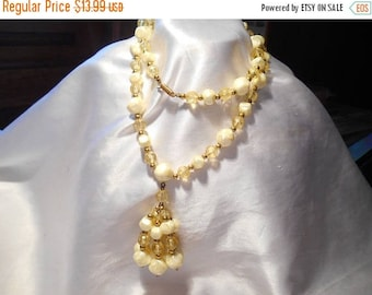 50% Off Sale Vintage Pastel Shades of Yellow Tassel Flapper Style Statement Burlesque Beaded Necklace