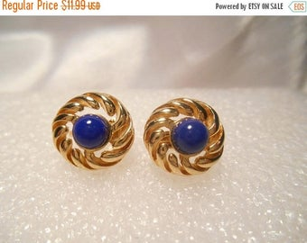50% Off Sale Avon Vintage Royal Azura Clip On Gold Tone Round Earrings With Lapis Blue Cabochons